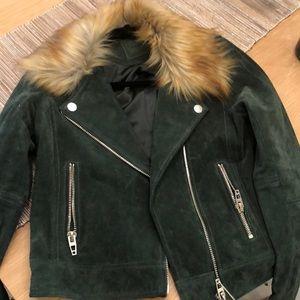 BlankNYC Suede Moto Jacket w/ Faux Fur Collar